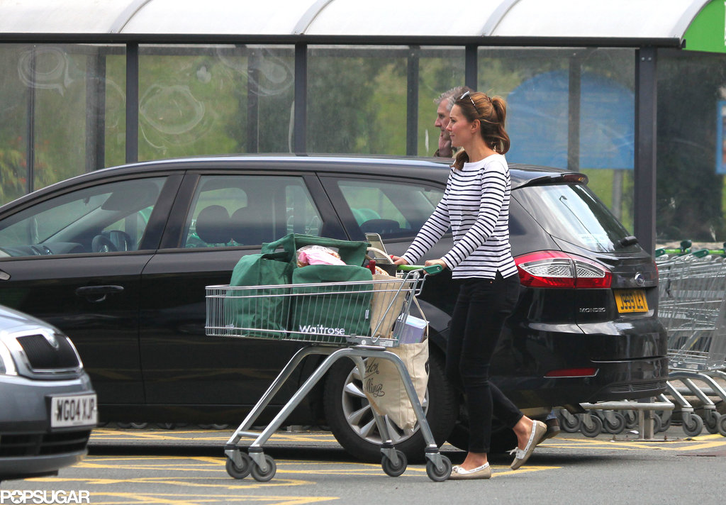 Kate Middleton wore a striped sweater and flats for a trip to the local market.