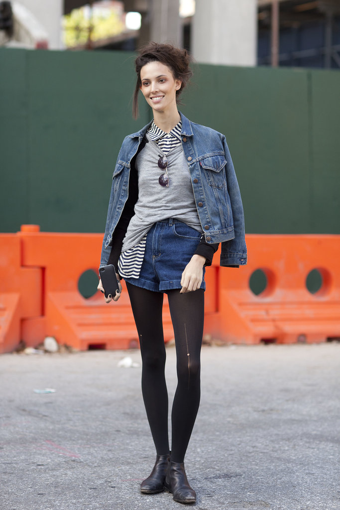 Ruby Aldridge's denim-on-denim layers feel totally charming with a button-up and a snug knit to top them off.  Source: Le 21ème | Adam Katz Sinding