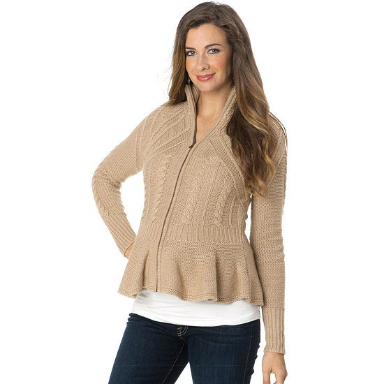 Made from soft cashmere in a comfy cable-knit pattern, this cozy maternity sweater from A Pea in the Pod ($350) will keep you cuddly warm. Plus, the zip-up, peplum style is just too cute!
