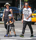 Jonny Lee Miller and family went out in NYC.