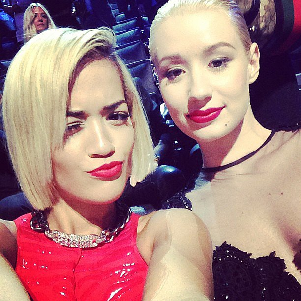 Rita Ora snapped a selfie with her VMAs seatmate, Iggy Azalea. Source: Instagram user ritaora