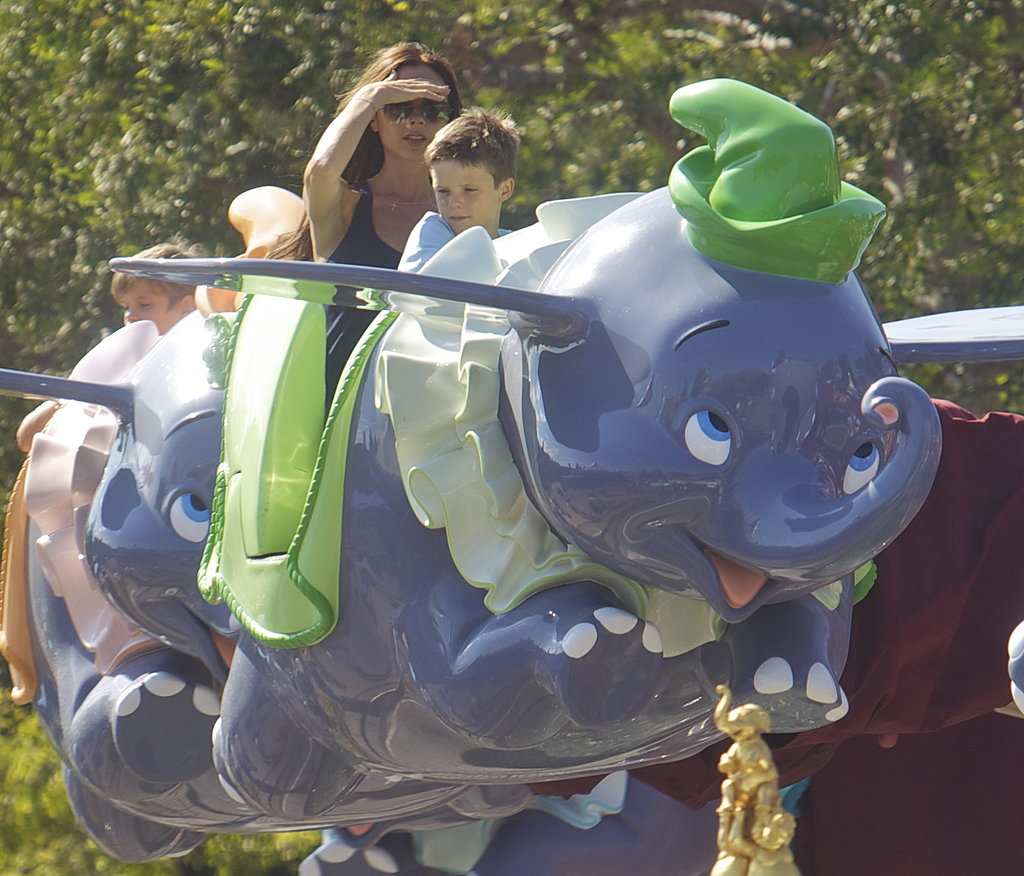In August 2013, Victoria Beckham and her son Cruz sat together for the Dumbo ride at Disneyland.