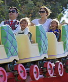 Jennifer Lopez enjoyed a Disneyland roller coaster with her twins, Emme and Max, in August 2013.
