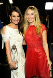 Lea Michele posed backstage with Kristen Bell at the People's Choice Awards in LA in January 2012.