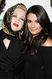 "Lea Michele posed on the red carpet with Cyndi Lauper at the singer's ""True Colors Cabaret"" event in NYC back in November 2009."
