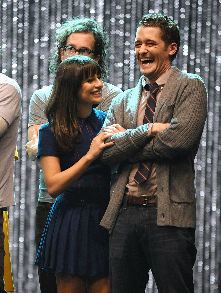 Lea Michele laughed onstage with Matthew Morrison as they filmed Glee's 300th musical performance in LA in October 2011.