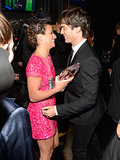 Lea Michele got a congratulatory hug from Ian Somerhalder at the People's Choice Awards in LA in January 2013.