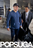 Matt Damon sported a baseball cap and sweatshirt as he landed at LAX.