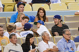 David Beckham watched the Dodgers game with his kids, Brooklyn, Cruz, and Harper.