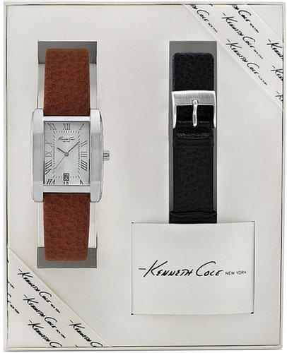 Kenneth Cole New York Watch Set, Men's Interchangeable Black and Brown Leather Straps 32mm KC5160