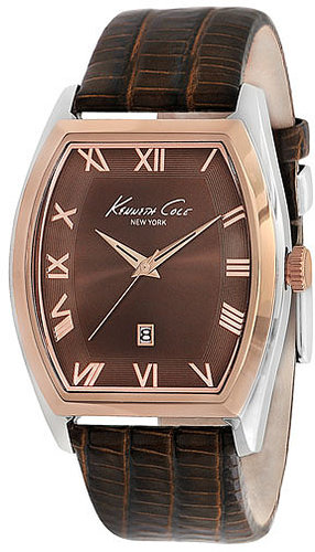Kenneth Cole New York Tonneau Leather Strap Watch Rose Gold/ Brown