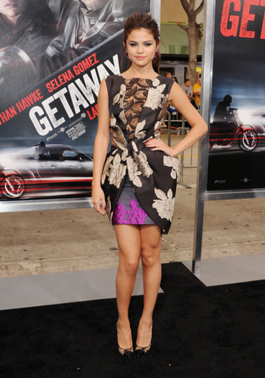 Selena Gomez stepped out on the black carpet for Getaway in a printed Vera Wang cocktail dress.