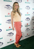 Molly Sims opted for a colorblock pant ensemble at the 2013 US Open Kick-Off party.