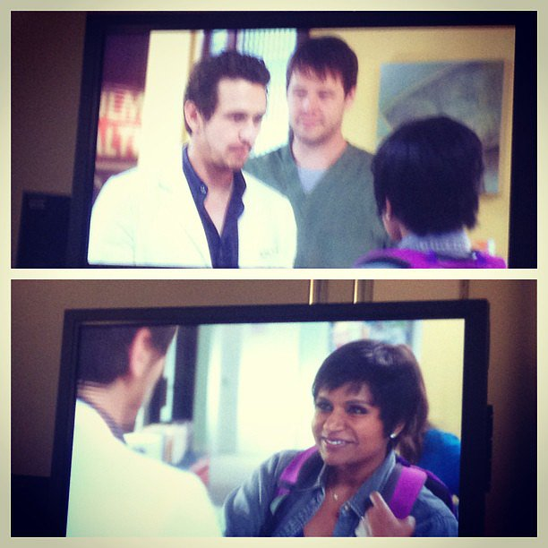 Here's a shot of Mindy (Mindy Kaling) meeting Paul Leotard (James Franco) in the season premiere.  Source: Instagram user mindykaling