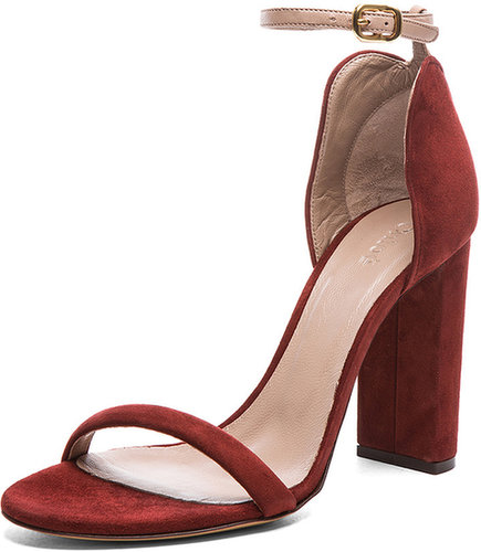 Chloe Heel in Red & Angora Beige