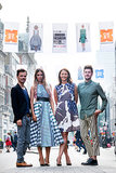 Matthew Williamson, Amber Le Bon (in Roksanda Ilincic), British Fashion Council CEO Caroline Rush, and Henry Holland joined forces to launch the Oxford Street Fashion Showcase.