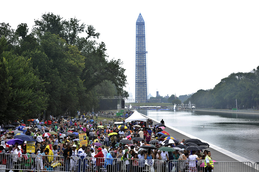 People gathered outside the Lincoln Memorial for the 50th anniversary of the March on Washington For Jobs and Freedom.