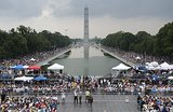 Thousands of people gathered at the Lincoln Memorial to mark the 50th anniversary of the March on Washington.
