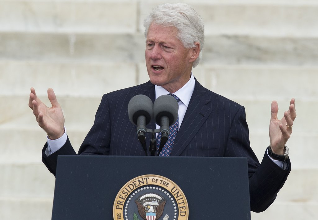 Former President Bill Clinton spoke to the crowds.