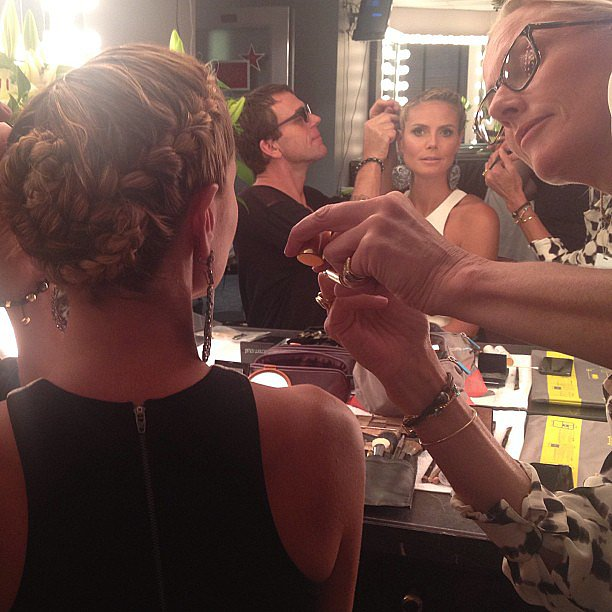 Prior to taping an episode of America's Got Talent, Heidi brought the camera out to take a snap of this cool braided updo. Source: Instagram user heidiklum