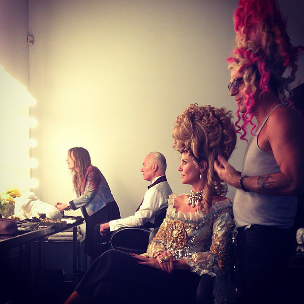 For a themed episode of Project Runway, Heidi donned a Marie Antoinette wig and so did her stylist.  Source: Instagram user heidiklum