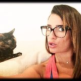Lea Michele showed off her silly side in this candid snap with her cat. Source: Instagram user msleamichele