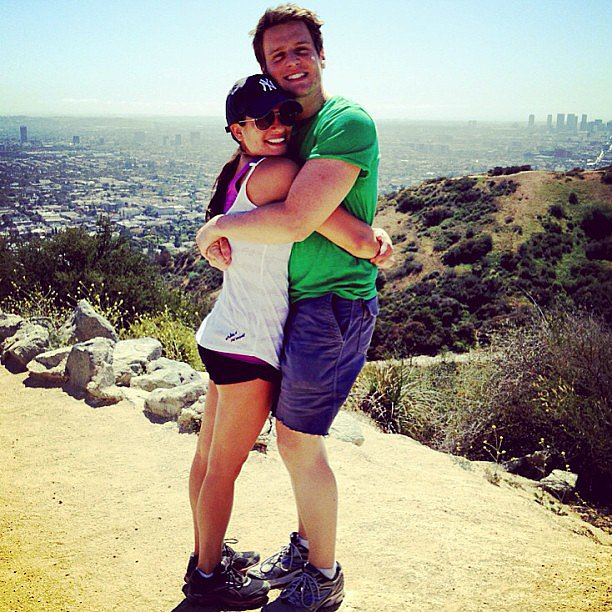 Lea Michele and her BFF Jonathan Groff shared a hug while on a hike together in LA. Source: Instagram user msleamichele