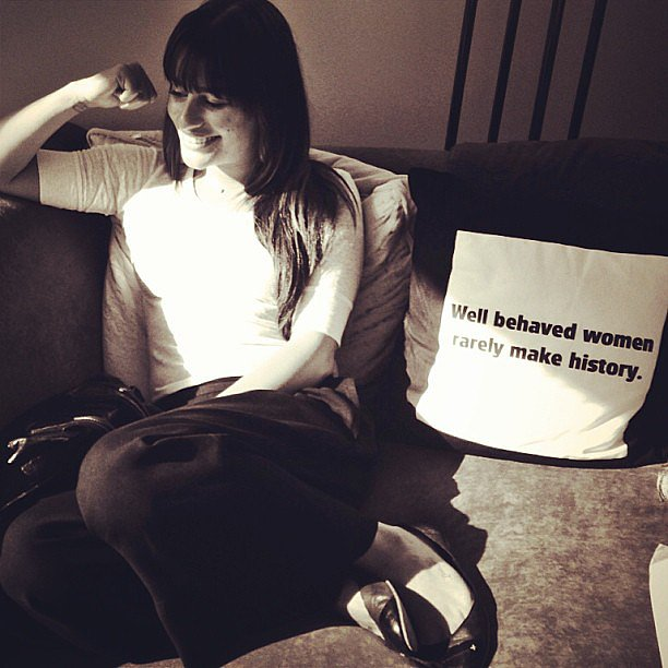 Lea Michele posed near an inspiring throw pillow. Source: Instagram user msleamichele