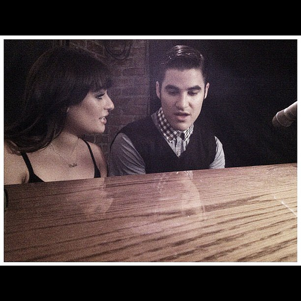 Lea Michele and Darren Criss shared a cute moment at the piano on the set of Glee. Source: Instagram user msleamichele