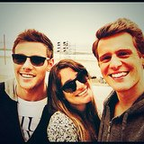 "Lea Michele shared this photo of herself with her ""two favorite boys,"" Cory Monteith and Jonathan Groff. Source: Instagram user msleamichele"