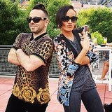Selita Ebanks and a friend partied in bold prints at the US Open. Source: Instagram user selitaebanks
