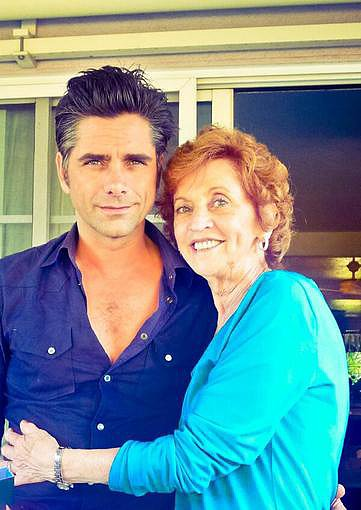 """John Stamos celebrated his """"last few hours being 49"""" with his mom, and shared this adorable snap. Source: Twitter user JohnStamos"""