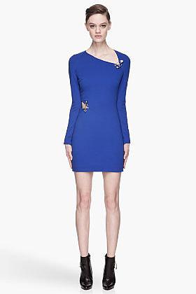 VERSUS Royal blue asymmetric Pin Dress