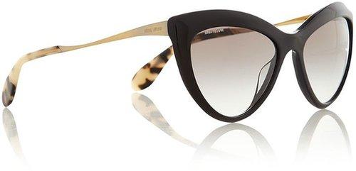 Miu Miu Ladies black golden cat eye sunglasses