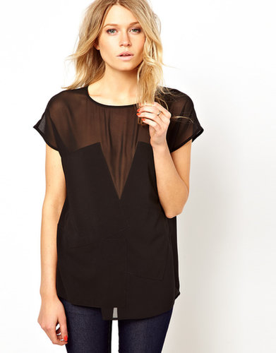 ASOS Top With Sheer and Solid Applique