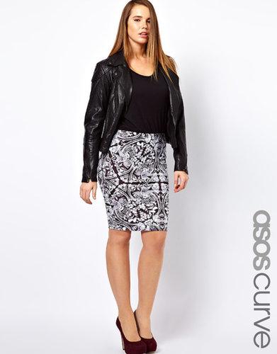 ASOS CURVE Pencil Skirt in Empire Print