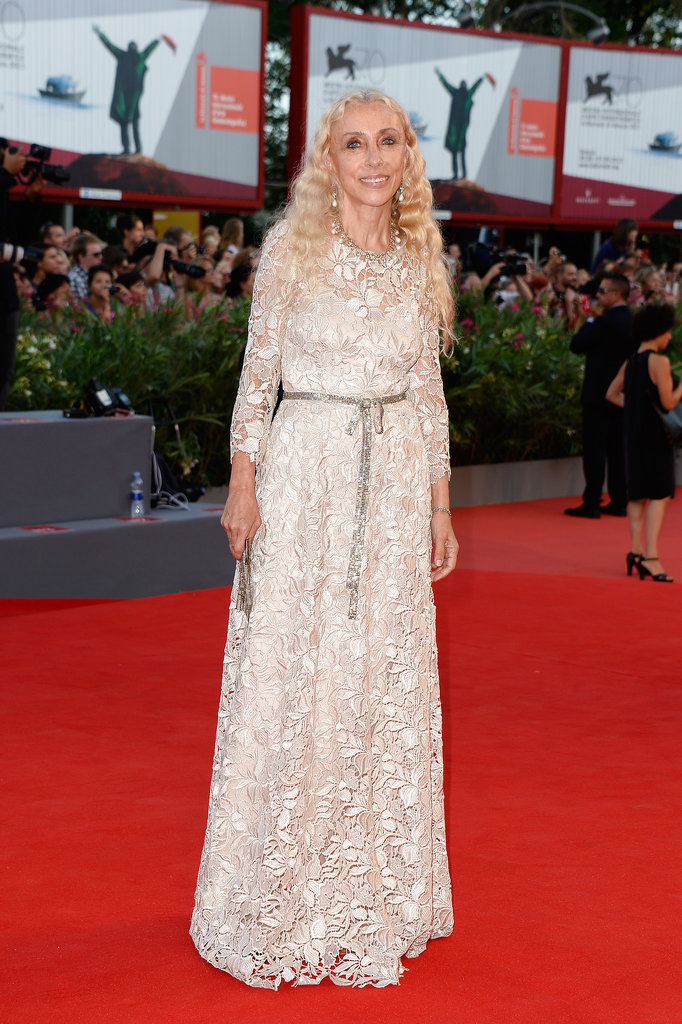 Franca Sozzani looked lovely in a floral lace gown at the Venice Film Festival.