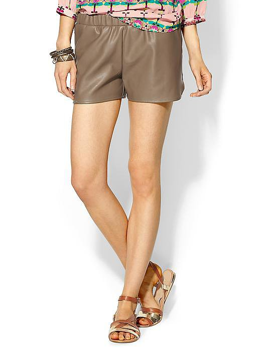 All leather doesn't have to be tailored; these mushroom-hued Sabine jogging shorts ($49)