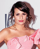 At the Fox Golden Globe Awards afterparty in 2011, Lea wore a tousled sideswept chignon and a pink makeup palette to match her feminine gown.