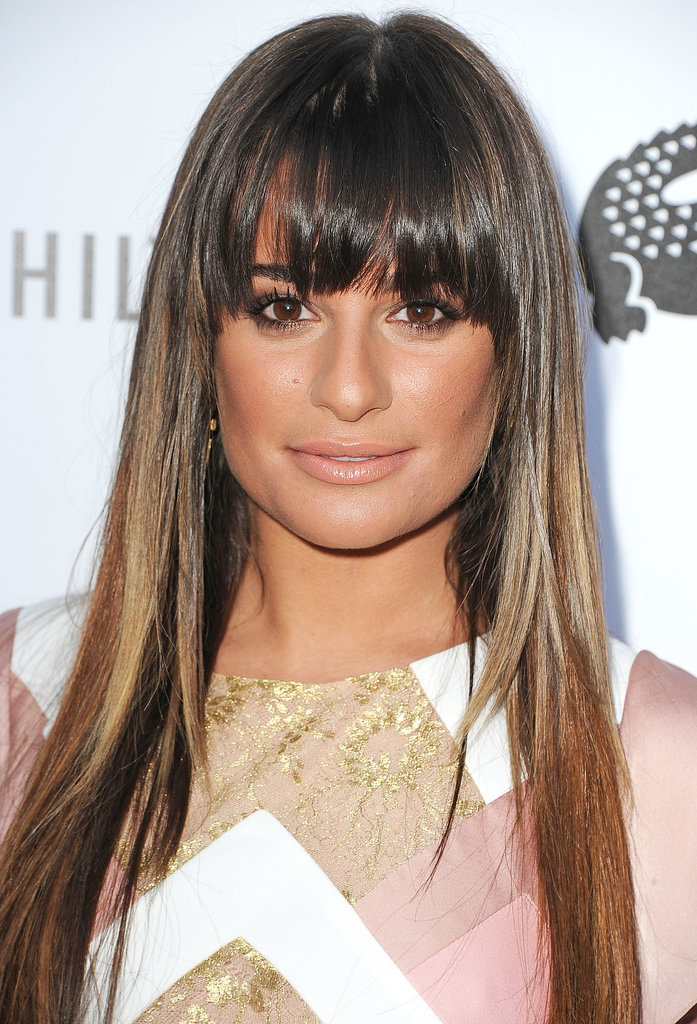 Earlier this year, Lea sported lightened locks with bangs. We loved the sleek style.