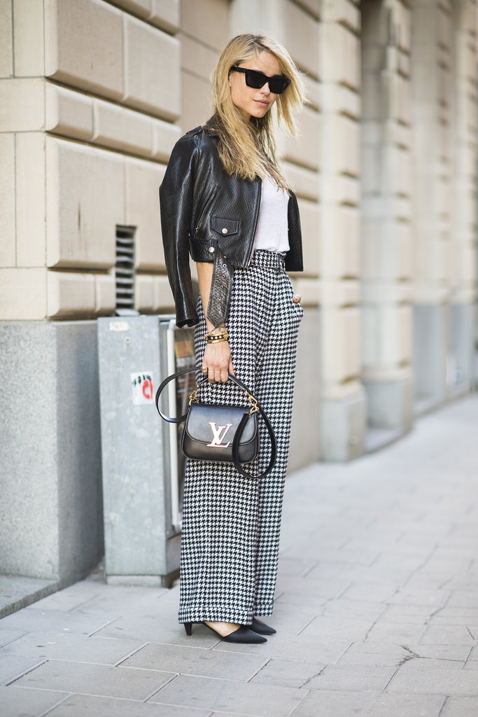 Houndstooth trousers feel totally classic — but a cropped moto jacket gives them a totally now finish.  Source: Le 21ème | Adam Katz Sinding