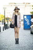 One part Parisian chic, one part retro — thanks to a tweedy jacket and a floppy hat. Source: Le 21ème | Adam Katz Sinding