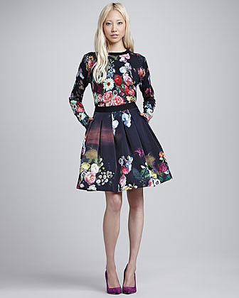 Ted Baker Flowtii Oil Painting Pleated Skirt