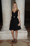 Eva Riccobono modeled a classic black look at the Venice Miu Miu dinner.