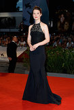 Mia Wasikowska made a dramatic entrance on the Venice Film Festival red carpet in Nina Ricci's halter gown.