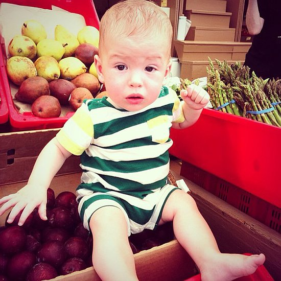 Tori Spelling shared this adorable photo of her little guy while filming for Cooking Channel's Dean and Tori's Backyard Bash.  Source: Instagram user torianddean