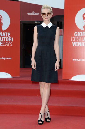 Carey Mulligan made her Venice Film Festival appearance in a chic black-and-white Miu Miu dress and satin Roger Vivier T-straps.