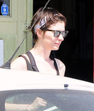 Anne Hathaway used a headband to keep the sweat out of her eyes.