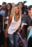 Beyoncé Knowles smiled for the cameras while out in Brooklyn.