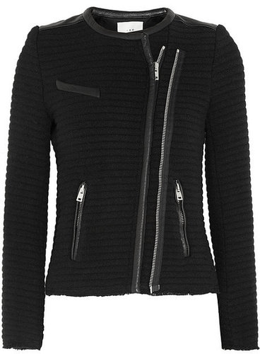 IRO Maiden leather-trimmed quilted crepe jacket